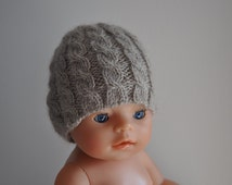 Newborn Cable Knit Mohair Hat, Newborn Boy Girl Unisex Photography Prop