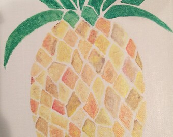 Pineapple acrylic painting