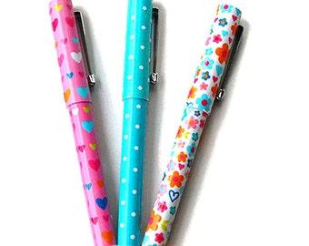 Cute set of 3 pens, set of 3 ballpoint pens, blue writing pens, novelty pens, stationary supplies, pink pen, white pen, turquoise pen