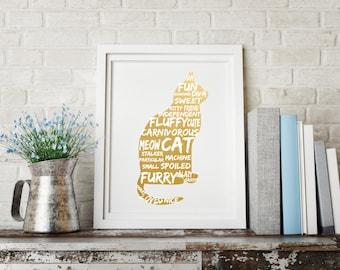 Cat print, Cat wall art, Cat wall decor, Gift for cat lover, Cat print art, Gold foil cat, Silver foil cat, Copper foil cat, Cat love art