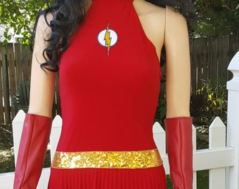 size small-medium Lady Flash inspired costume