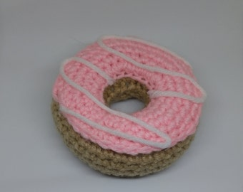 Crochet strawberry frosted donut