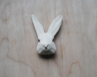 Bunny - 3D printed  Polygonal Brooch, Rabbit Face