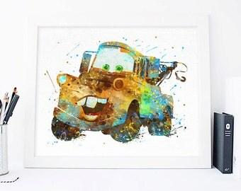 Disney Cars Mater print - Watercolor Nursery Wall decor Cars Pixar Wall Art Disney Poster Cars waterolor, Disney pixar art disney home decor