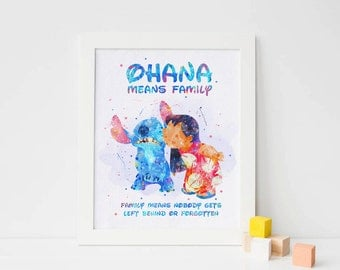 Lilo and Stitch print Disney Lilo and stitch Watercolor Disney ohana Print, disney decor, ...