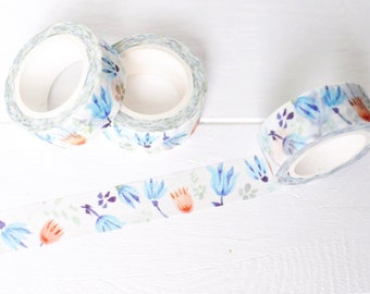 Blue and Orange Floral Washi Tape. 15mm x 7m. Blue Flower Washi Tape. Pretty Washi Tape. Colorful Washi Tape. Fall Planner Supplies.