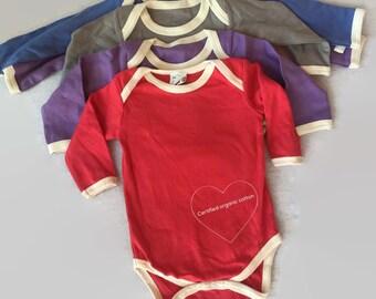 Organic Baby Bodysuit/ contrast trim