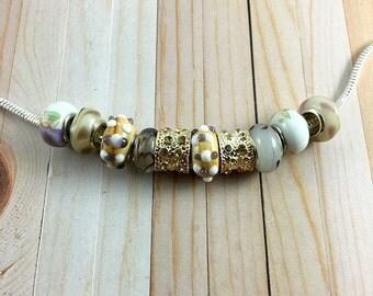 10pcs Bracelet Kit, European Bead, European Bracelet, European Charm Bead, Murano Glass Beads, Large Hole Beads, Jewelry Making, SK1042