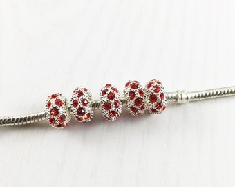 Red Rhinestone European Bead, Silver Spacer Bead, European Charm Beads, Large Hole Beads, European Bracelet, Big Hole Beads, EB1251