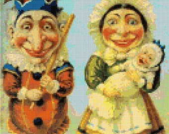 Victorian Punch and Judy Cross Stitch pattern Poster PDF - Instant Download!