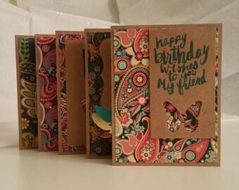 Paisley Kraft Birthday Cards (Blank Inside), Set of 5
