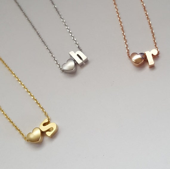 Heart initial necklace lowercase script letter bridesmaid for Lowercase letter necklace