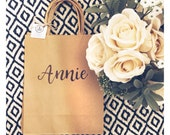 Custom hand written kraft gift bag - matron of honor gift bag - bridesmaid gift bag - flower girl gift bag - mother of the bride gift bag