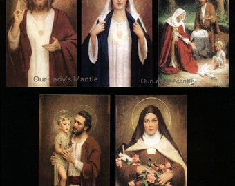 Lot of 5 Holy Cards by Bosseron Chambers Sacred Heart of Jesus, Immaculate Heart of Mary, the Holy Family, St.  Joseph & St. Therese