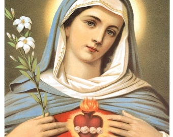 Immaculate Heart of Mary 8x10 Catholic Art Picture Print