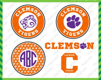 Clemson Tigers Monogram Frames SVG DXF PNG eps college football Cut Files for Cricut Design, Silhouette studio, Sure Cuts A Lot, Makes cut