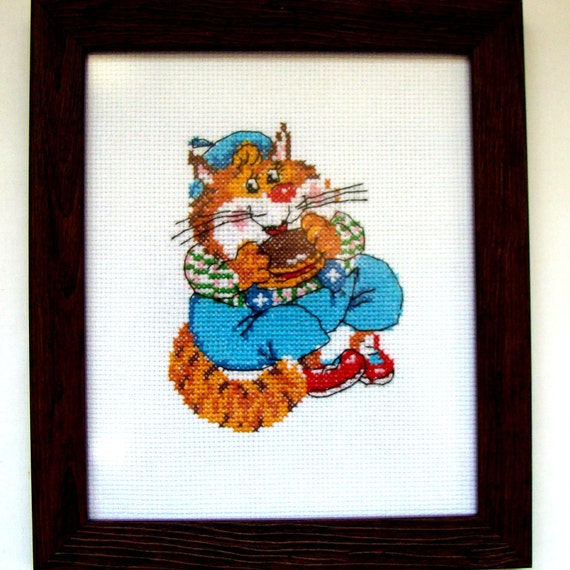Wall Decor Cross Stitch : Cross stitch cat picture wall d?cor nursery gift for