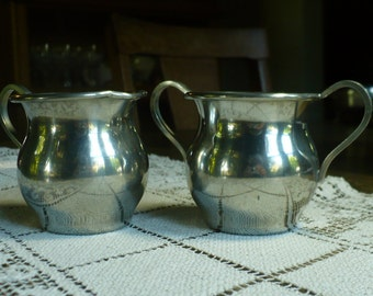 Vintage Old Colonial pewter sugar and creamer set