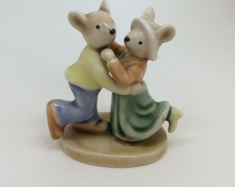 Vintage dancing mouse couple - wedding or engagement cake topper  or gift