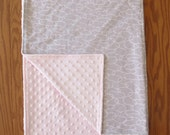 Grey and Pink Minky Baby Blanket
