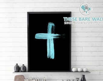 Printable Wall Art, Teal Blue Cross on Black, Religious Art, Cross Home Decor, Size 8x10