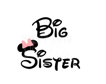 Big  Sister with Minnie Bow/Big Brother Bro Pregnancy Matching Family  Baby Surprise Mickey Mouse Disney Iron On Decal Vinyl for Shirt 098