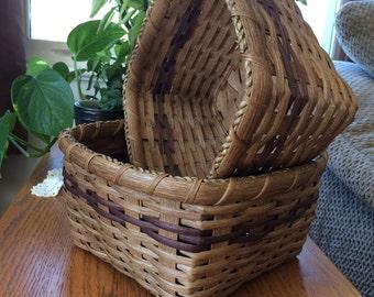 Handwoven Napkin Basket #96 & #97 w/ Dark Brown accents