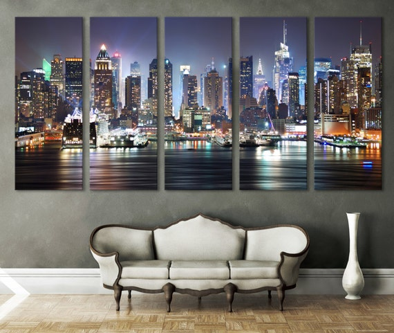 New york cityscape canvas print wall art multi panel by for Decoration bureau new york