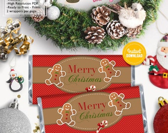 INSTANT DOWNLOAD - Cute Christmas Hershey's 1.55oz wrappers Christmas decorations chocolate bar label Christmas printable favor