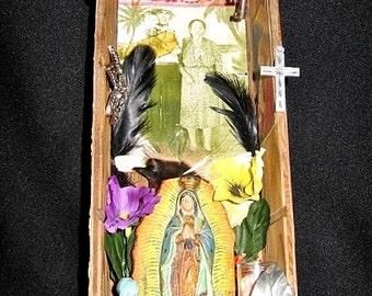 Our Lady of Guadalupe Familia Folk Art Shrine Mixed Media