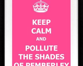 Keep Calm Pride And Prejudice Shades of Pemberley Mr Darcy Jane Austen Printable 8x10 Gallery Wall Custom Art Print Colin Firth