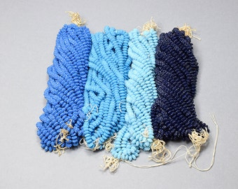 Vintage Flower Beads, Art Deco, Czech Pressed Glass Flower Bead, Full Strand, 100 Beads, Opaque, Blue