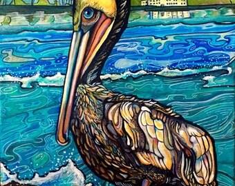 Oceanside Pelican, Acrylic on Canvas, Original Painting, Aqua Blue, Teal, Royal Blue Ocean, California Coast, Reese Owen Art, sea bird art