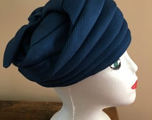 Vintage 1950s Blue Turban Style Harmonica Hat or a Bucket Hat with a Bow Design