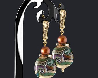 Fairy Tale Forest Lampwork Earrings /  Earrings with Rauchtopaz and Pearls / 8 Clasp Types for Your Choice