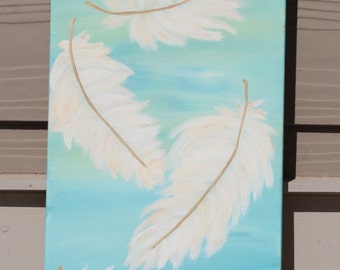 Falling Cream Colored Feathers on Teal Blue: Original Acrylic Painting on Stretched Canvas, 8x24 inches