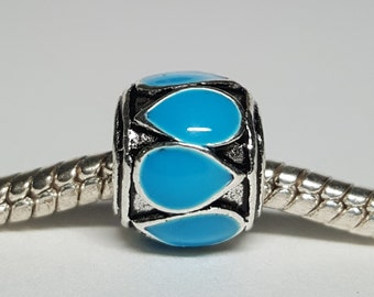 Silver and Turquoise Charm for European Bracelets (item 259)