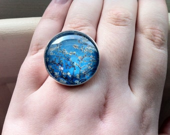 Van Gogh Almond Blossom Glass Cabochon Ring
