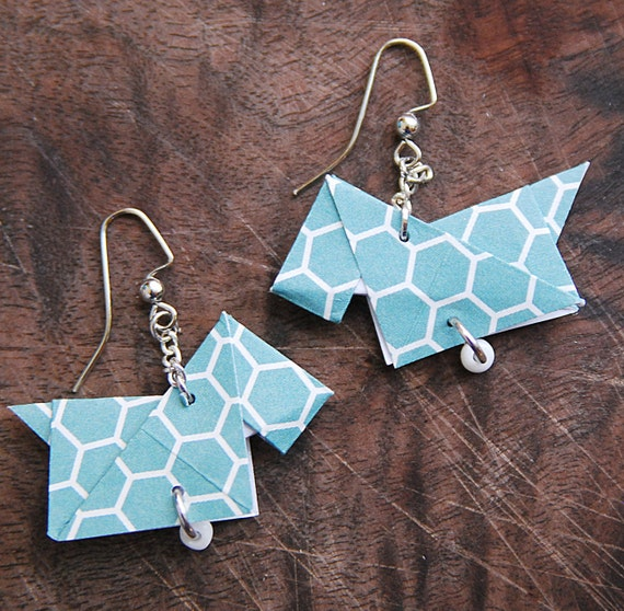 Origami Earrings, Scottie Dog Earrings, Honeycomb, Nickel Free Earrings, Geometric, Hexagon, Minimalist Earrings