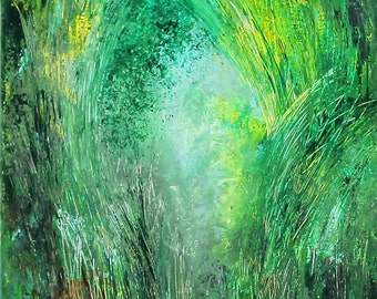 Original Landscape Green Forest Painting wall decor squere acrylic painting