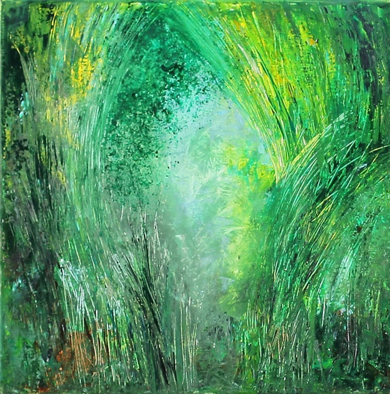 Original Landscape Green Forest Painting Wall Decor Squere