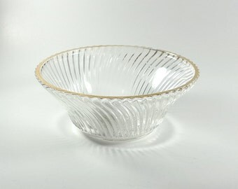 "6 Federal Glass Diana Pattern 5"" Gold Trim Bowls"