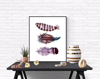 Tribal Feather Printable Art Print, Boho feathers art, Feather printable , Feathers Wall Art, Feather Poster, Digital Print, Feathers Print