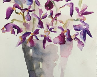 Flowers Vander Orchids | Original watercolor painting | Watercolour wall art | A3