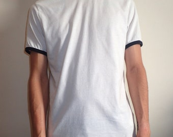 Basic Mens White T-shirt with Black Piping