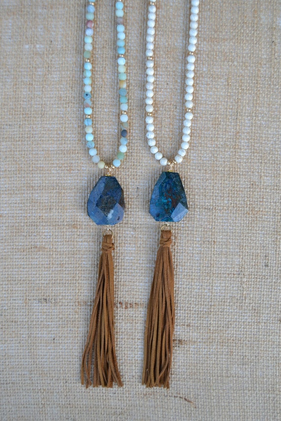 Beaded Necklace with Suede Tassel and Navy Agate Focal Piece