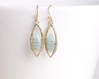 Sea green Chalcedony dangle earring,drop earring,Chalcedony gemstone earring,mothers day gift,,birthday present