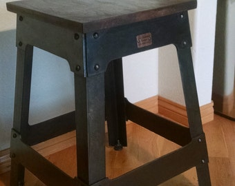 Walnut and steel industrial stool/end table