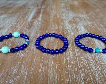 Blue, Turquoise and Aqua bracelet set