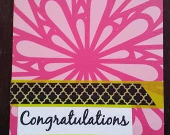 Pink Funky Floral Congratulations Card